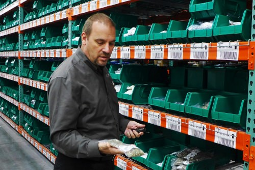 Todd Fischer, vice-president and corporate information officer, looks at a fraction of the Endries inventory.