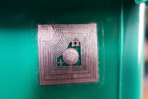 No room for error: An Endries parts bin carries a bar code and two RFID tags.