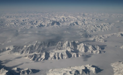 Greenland's ice sheet as seen from 40,000 feet.