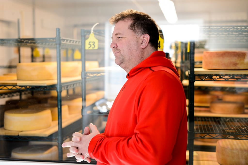 Master cheesemaker Chris Roelli discusses cheeseat Roelli Cheese Haus in Shullsburg, Wisconsin. Roelli Cheese created an award-winning product, known as Little Mountain cheese, with the consulting and test-batch help of the Center for Dairy Research at UW–Madison.