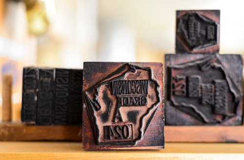 Stamps used to mark and grade packages of Wisconsin-made cheese are pictured at Roelli Cheese Haus in Shullsburg, Wis.