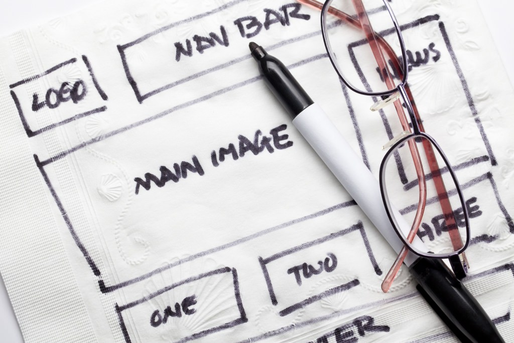 Photo: Elements of a website drawn on a napkin