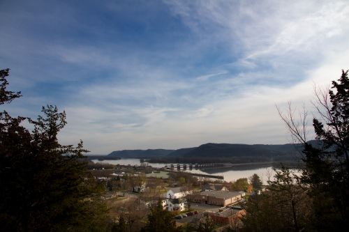 The Little Bluff Mounds Interpretive Trail culminates in a grand view of today's village of Trempealeau. Trempealeau is a destination of the 2017 Wisconsin Idea Seminar.
