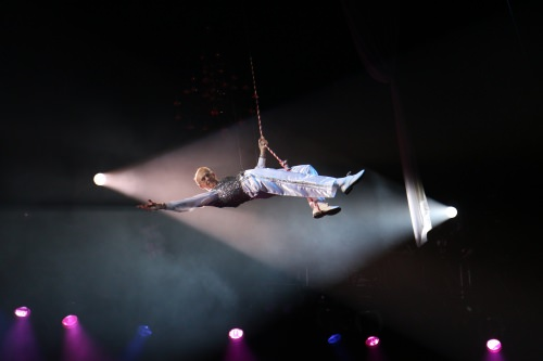 Photo of Mike Leckrone on the high wire.