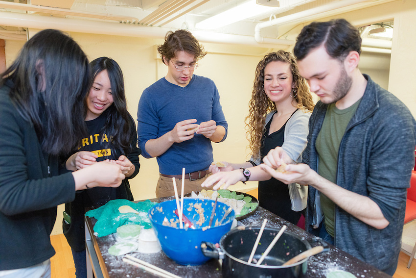 Students in the International Learning Community at Adams Hall celebrate the Lunar New Year on Jan. 28 with some traditional Chinese food.
