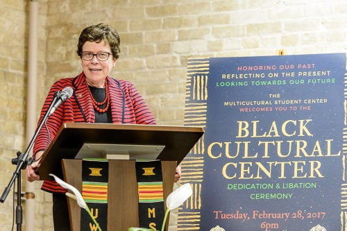 Chancellor Rebecca Blank speaks the decication for the new Black Cultural Center.