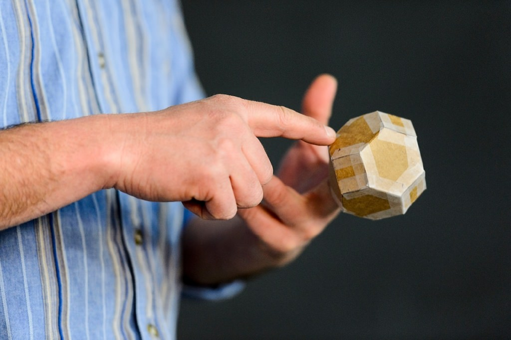 Photo: Krsko holding model of Weaire-Phelan structure