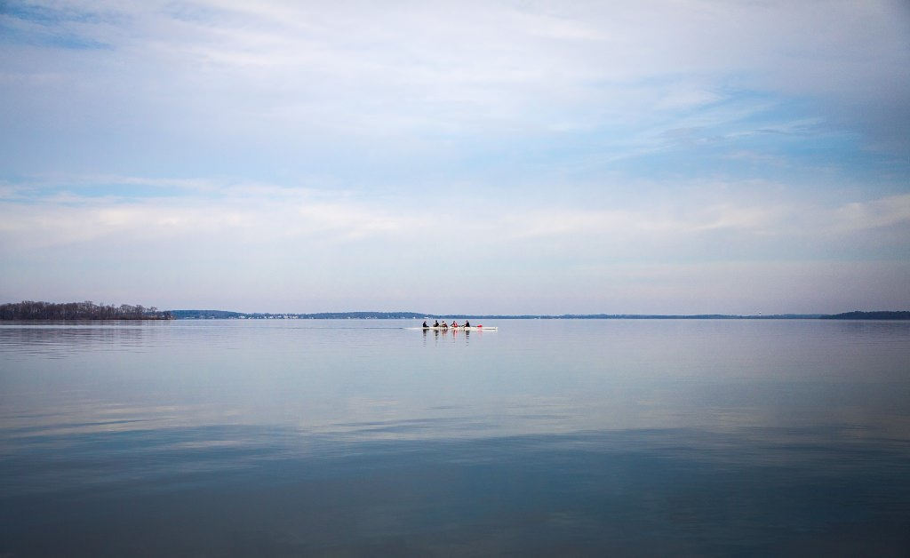 Campus may be empty while students are on spring break, but Wisconsin Men's Rowing is keeping it busy on Lake Mendota.  (Photo by Hyunsoo Leo Kim | University Communications)