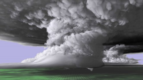 A colorized image of the tornado-producing supercell nearly 20 miles long and 12 miles high. The imagery from the simulation was built upon real world data collected near the May 24, 2011 supercell, which spawned several tornadoes including the EF-5 that touched down near El Reno and Oklahoma City, Oklahoma.