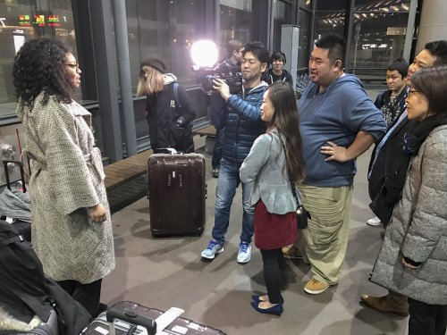 Kayla being interviewed just outside Narita International Airport, shortly after our arrival. In addition to the other students, we can see Mr. Shimada (cameraman) and Ms. Norie Takata of Cosmo Space of America.