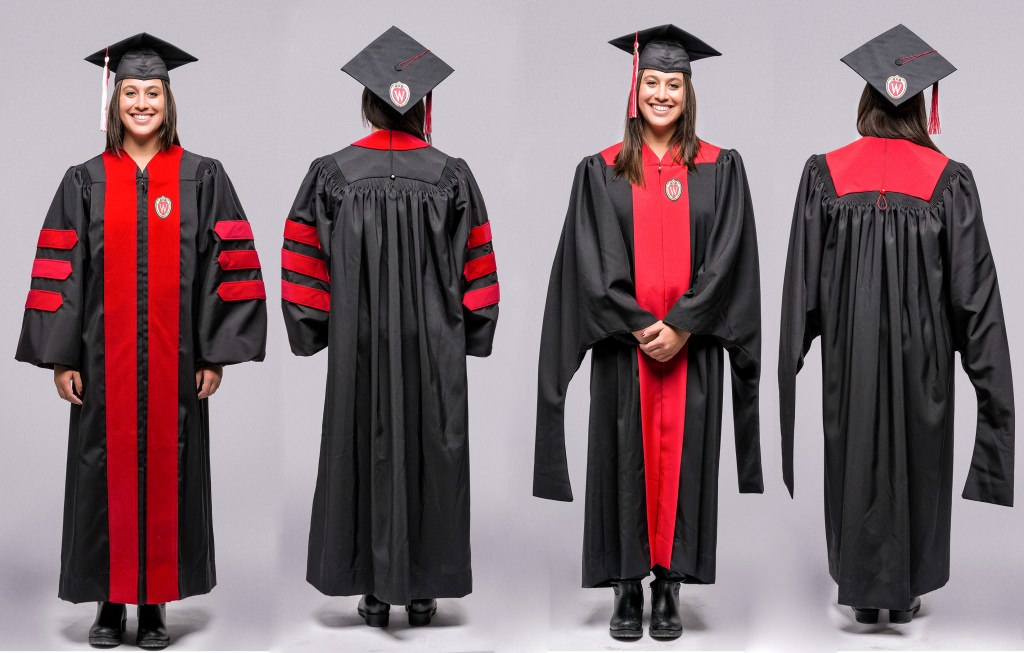 The new gowns for graduation for advanced degrees, with Ph.D. on the left, front and back, and master's degree on the right.