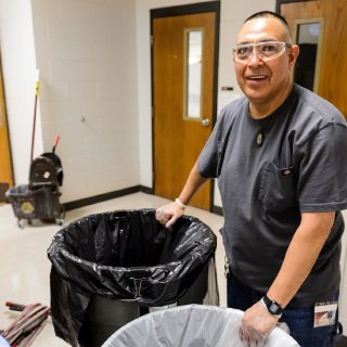 Jorge Ramos Garcia, a custodian with Facilities Planning & Management who works in the School of Veterinary Medicine, is known for his energy and optimism. Like other custodians, Ramos Garcia starts work at 5 p.m., when most people are finishing up their work and heading home. He is not only dedicated to getting his work done well, he also goes above and beyond to maintain the cleanliness and tidiness of the work and break areas. His colleagues say Ramos Garcia has made their workspace a pleasant environment and makes an effort to create great interpersonal interactions with people.