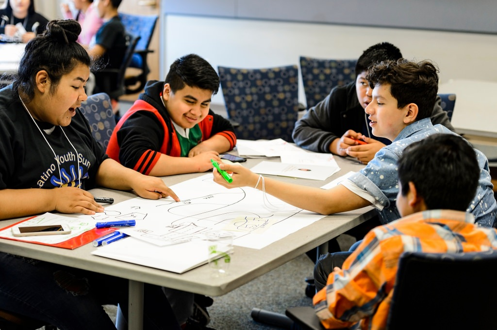 Photo: Students at table drawing neighborhood maps