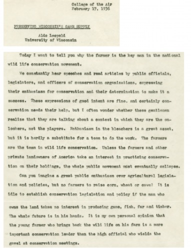 Photo: Aldo Leopold original radio script