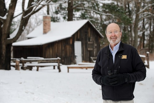 Photo: Stan Temple in front of Leopold shack