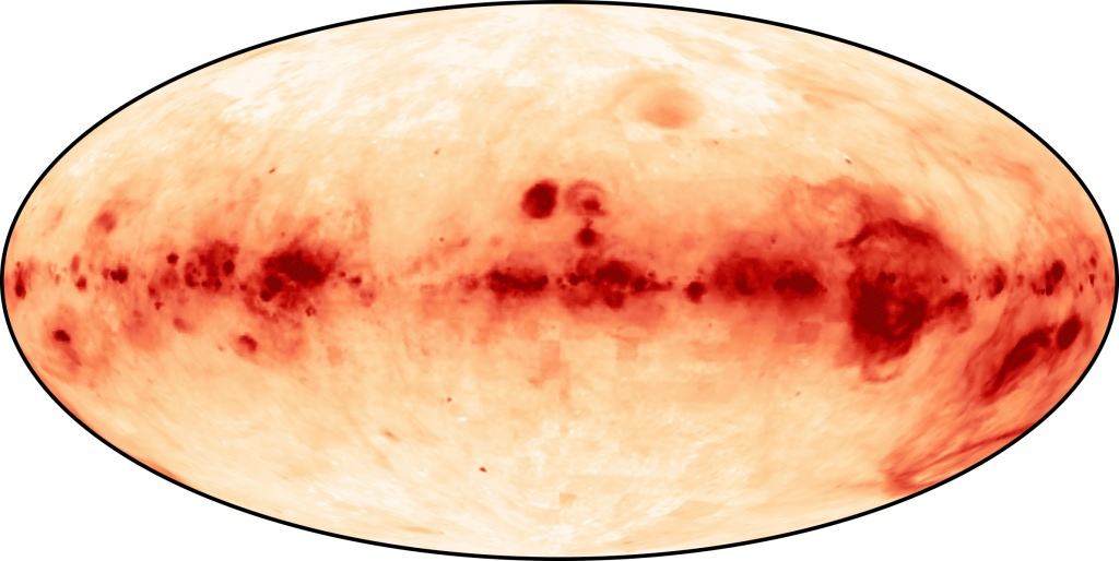 Photo: A survey image of ionized hydrogen gas in the Milky Way. The gas, shown in red, is recognized as a distinct feature of the galaxy — the Reynolds Layer — named after former UW–Madison astrophysicist Ron Reynolds, who discovered it.