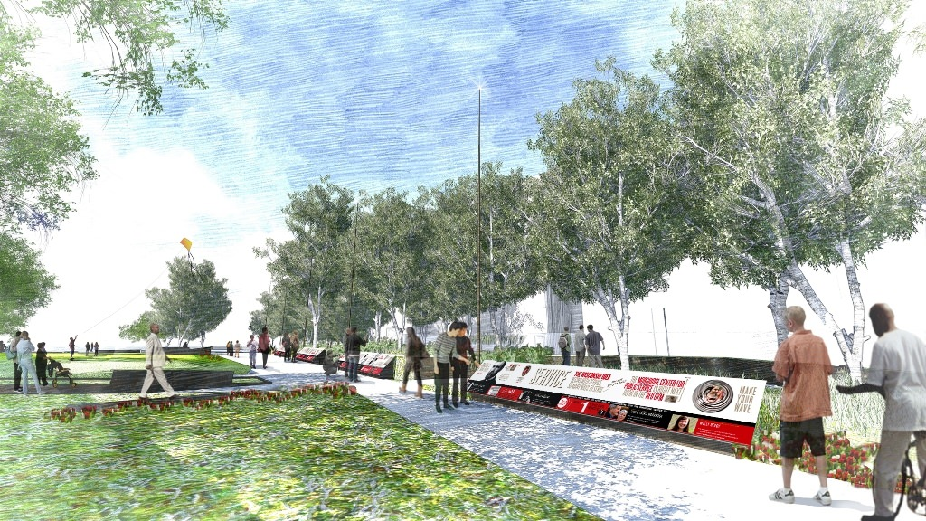 Graphic: Architectural rendering of Alumni Park