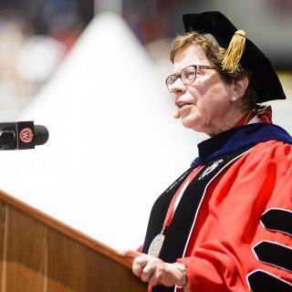 Chancellor Rebecca Blank tells the graduates,