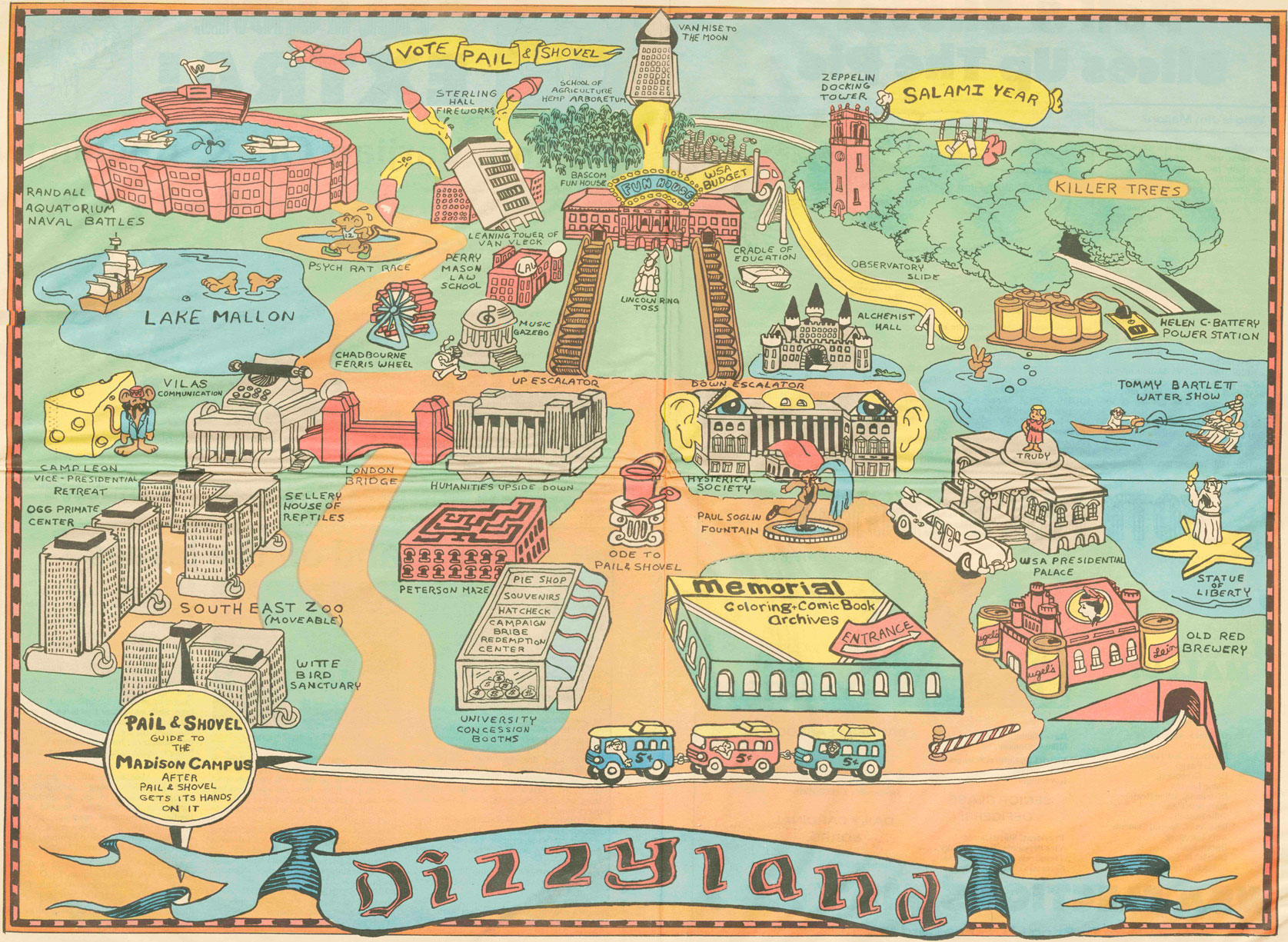 "A newspaper foldout of ""Dizzyland"" — UW–Madison's campus as Varjian and Mallon envisioned it."
