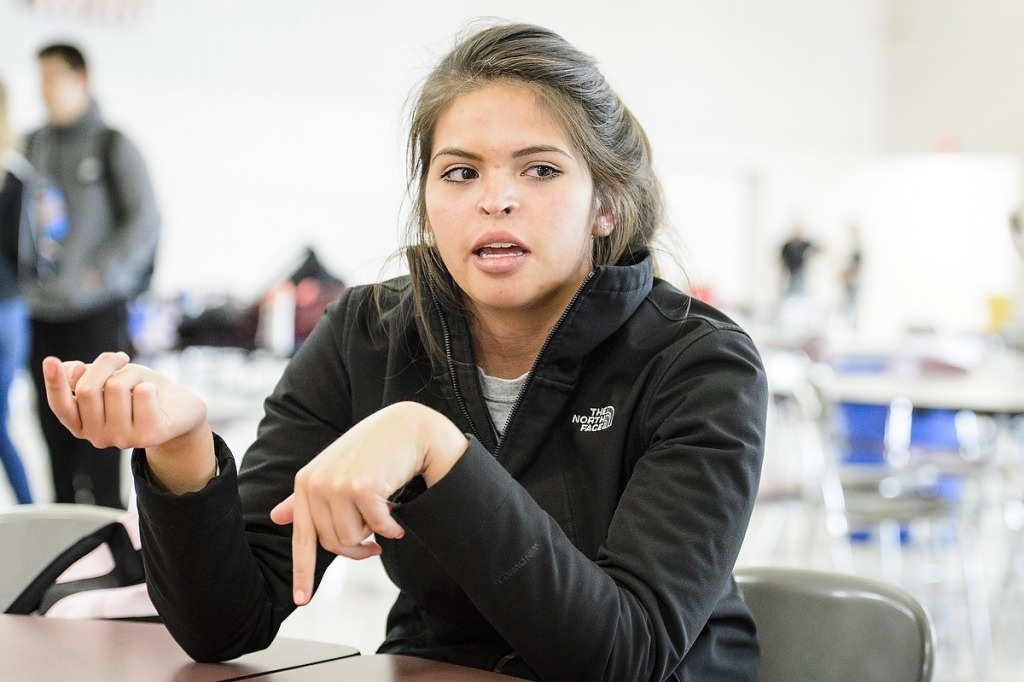 Kenadi Mayo, student at Lakeland Union High School in Woodruff, WI and member of the Chippewa tribal community, is interviewed on May 1, 2017. Mayo is a participant in the Tribal Technology Institute outreach program created by the Division of Information Technology (DoIT) at the University of Wisconsin–Madison, which is designed as a college pipeline program for members of the Oneida Nation and Lac du Flambeau tribal communities in northern Wisconsin. In the program, students learn computer coding, website design and multimedia skills while working with mentors and completing internships. Additionally, the students spend time at the UW–Madison campus. (Photo by Bryce Richter / UW–Madison)