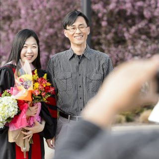 Ji Eun Kim, a doctoral graduate in musical arts - cell performance, poses for a photo before Friday's ceremony.
