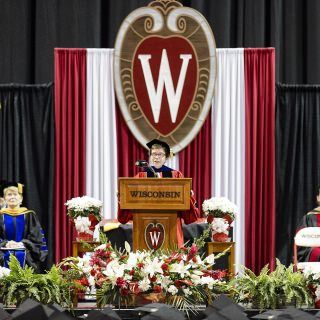 Chancellor Rebecca Blank address the crowd during UW-Madison's spring commencement ceremony at the Kohl Center.