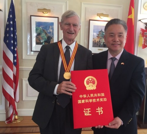 John Kutzbach, UW–Madison climatologist and professor emeritus, received China's top scientific honor for foreigners in a ceremony at the Chinese embassy in Washington, D.C.