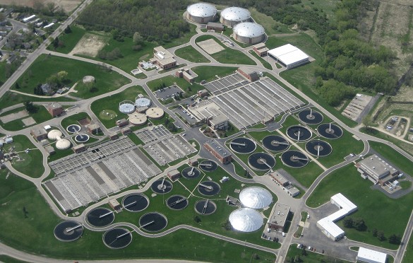 Photo: Aerial view of sewage treatment plant