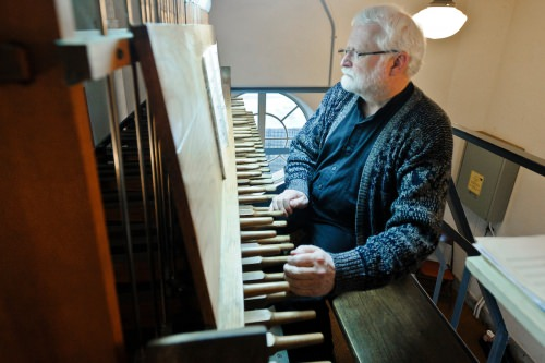 Lyle Anderson, university carillonneur, plays the Carillon Tower bells.