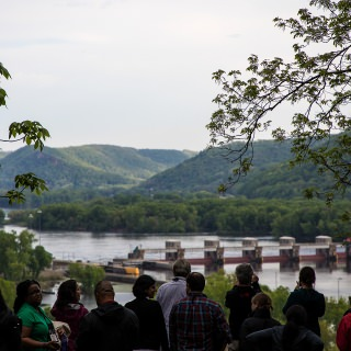 Seminar participants were rewarded with a stunning view of the Mississippi River after a hike up the Little Bluff Mounds Interpretive Trail in Trempealeau.