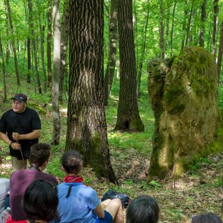 After the group hiked to a spirit rock on the Kickapoo Valley Reserve, Bill Quackenbush, Tribal Preservation Officer for the Ho-Chunk Nation, shared the importance of oral tradition and a story passed down for generations. A peaceful stillness filled the air as the group listened to Quackenbush's tale.