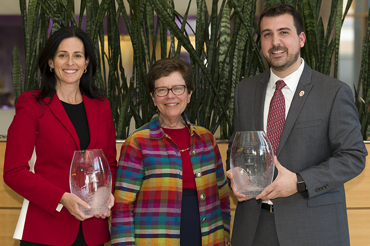 Chancellor Rebecca Blank, center, with the winners of UW–Madison's annual Entrepreneurial Achievement Awards — Michele Boal and Troy Vosseller.