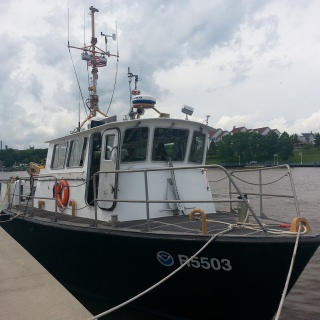 A NOAA ship equipped with EPA instruments used to collect nearshore and offshore measurements.