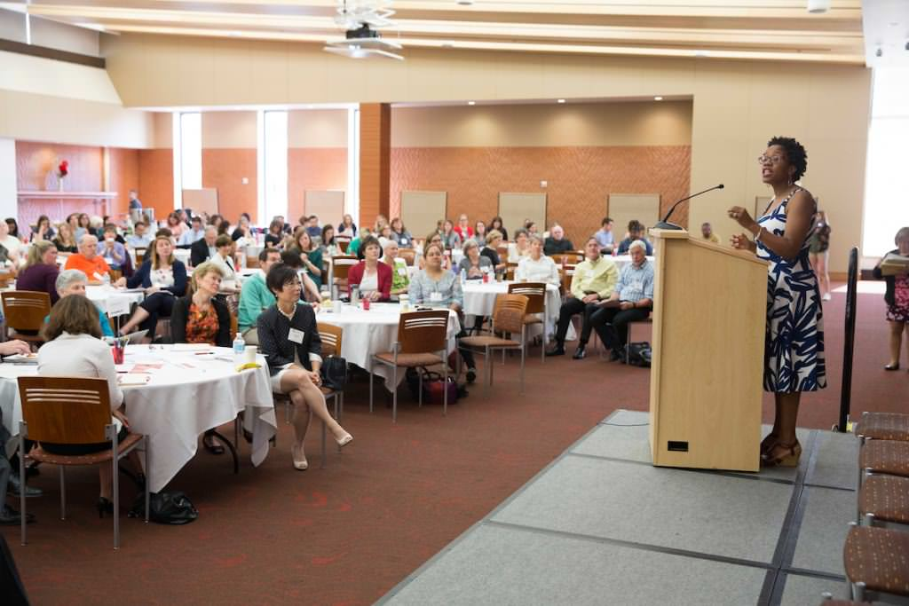 Janean Dilworth-Bart of the School of Human Ecology addresses attendees at the Prenatal-to-Five Summit on June 2 at Gordon Commons.