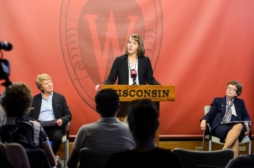 Photo: Sarah Van Orman speaking at podium