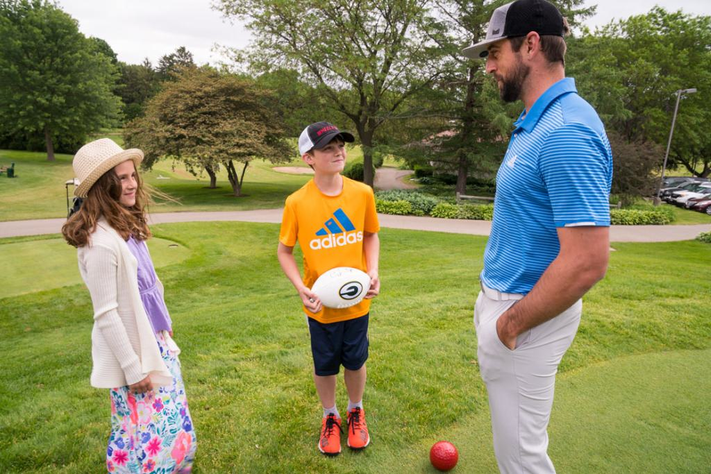 Myla and Preston Ray talk with Packers quarterback Aaron Rodgers.