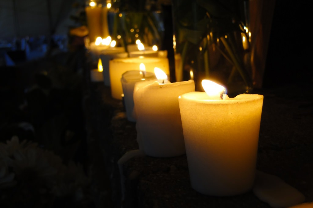 The candles were lit as a part of a Chinese tradition to honor the dead.