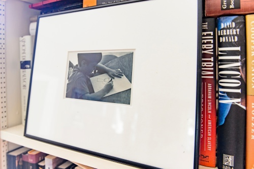 Photo: Framed photo of Ben Nadler drawing as a child