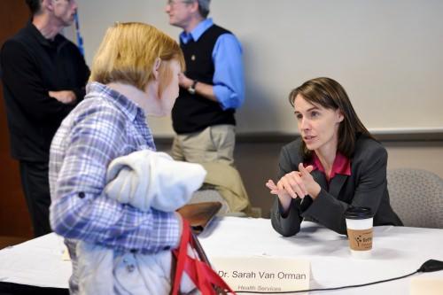 Photo: Sarah Van Orman talking to parent