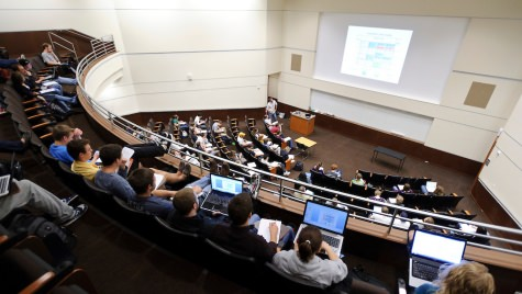 Students take notes on their laptop computers during a biochemistry class taught by Professor Sebastian Bednarek in an auditorium-style lecture hall in the recently renovated Biochemistry Building at the University of Wisconsin-Madison on April 16, 2012. (Photo by Jeff Miller/UW-Madison)