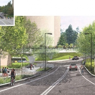 Proposed North Charter Street and Linden Drive Intersection with landscaped overpass.