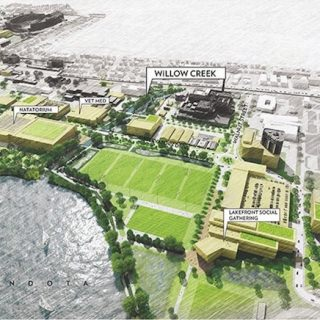 Proposed Willow Creek and West Campus area (view to southeast).