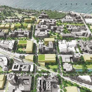 Proposed South Campus development opportunities (view to north).
