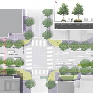 Proposed University Avenue and North Lake Street intersection with two-way bicycle lane.