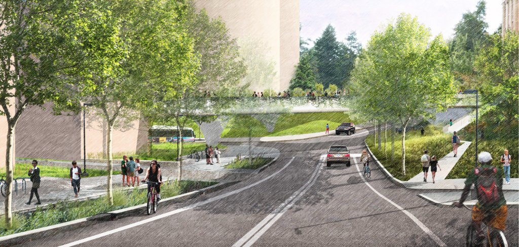 Graphic: Architect's drawing of pedestrian bridge over Charter Street