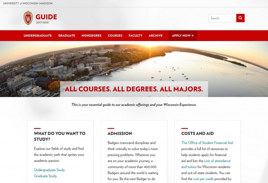Screen capture: The Guide homepage