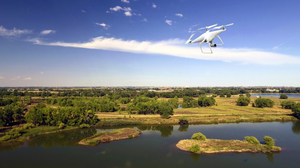 Photo: Drone flying above natural area