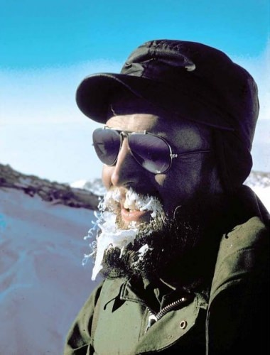 Photo: Charles Bentley outdoors in Antarctica, beard covered with ice