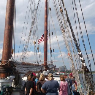 Preparing to get underway on the S/V Denis Sullivan, which is the world's only re-creation of a 19th-century three-masted Great Lakes schooner.