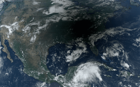 Photo: Satellite image of eclipse shadow crossing the southeastern U.S.